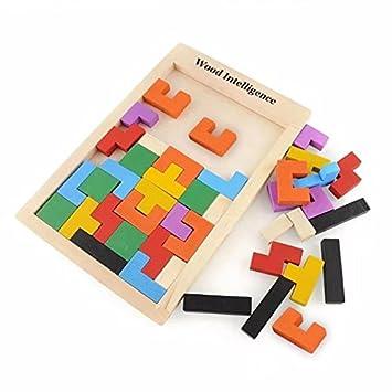 Amazoncom Tetris Kids Childrens Wise Disk Building Blocks Wooden