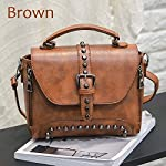 Crossbody Bags for Women Messenger Bags 2018 Vintage Leather Bags Handbags Women Rivet Small Shoulder Sac A522 (Brown)