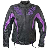 Xelement XS2027 Womens Black Leather Embroidered Jacket - 3X-Large