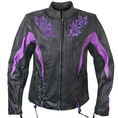 Xelement XS2027 Womens Black Leather Embroidered Jacket - 3X-Large by Xelement