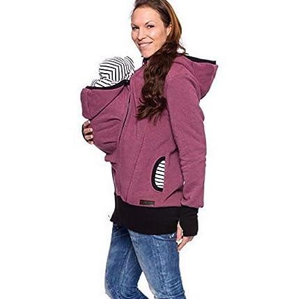 ab53d1893 Mujer Canguro Chaqueta del Portador De Bebé Maternidad Camisa De  Entrenamiento Otoño Invierno Engrosado Multifuncional Sudaderas
