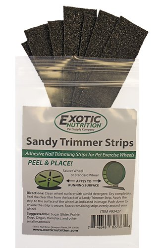 Exotic Nutrition Sandy Trimmer Strips (Small) (8 Strips) - Nail Trimming Strips for Pet Exercise Wheels - Ideal for Sugar Gliders, Prairie Dogs, Degus, Squirrels, Chinchillas