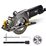 "TECCPO Circular Saw, 4 Amp 4-1/2"" 3500 RPM Compact Circular Saw with 24T Carbide Tipped Blade for Wood Cutting, 7"" Scale Ruler, Max Cutting Depth 1-11/16'' (90°), 1-1/8'' (45°) -TAMS25P"
