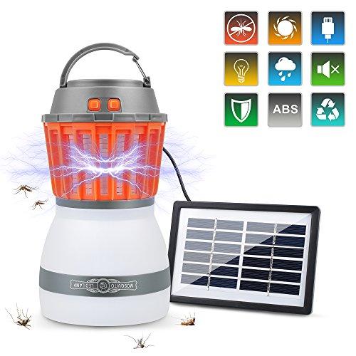 Ocaatech Bug Zapper & Camping Lantern 2200 mAh IP67 waterproof 2-in-1 Cordless Mosquito Killer Lamp Rechargeable for Indoor/Outdoors & Emergencies with solar (Solar Bug Killer Light)