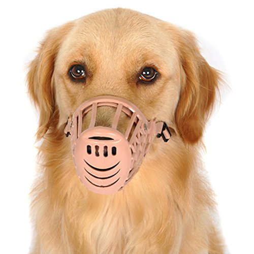 Image of Freerun Pet Dogs Muzzle Adjustable Quick Fit Plastic Muzzle Basket Cage Dog Muzzle - Color: Beige, Size M