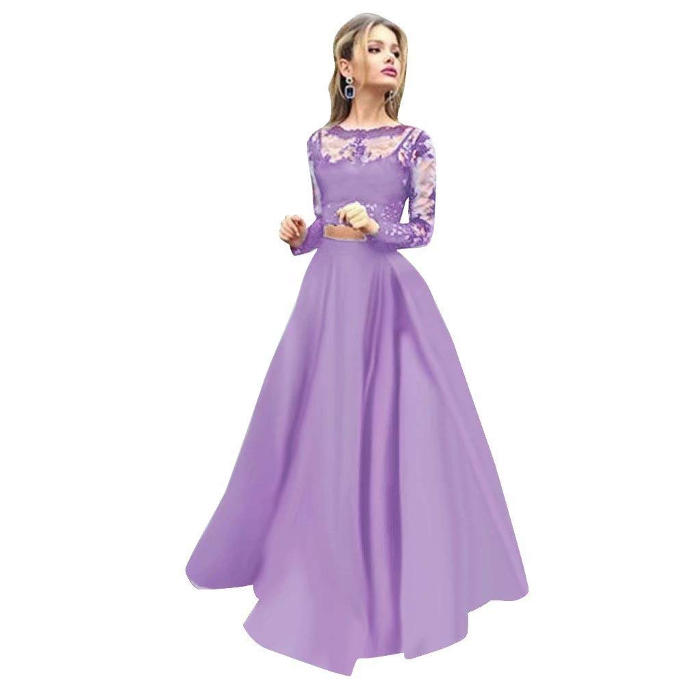 color 2 Women Floral Lace Dress Long Sleeve Flare Prom Gown