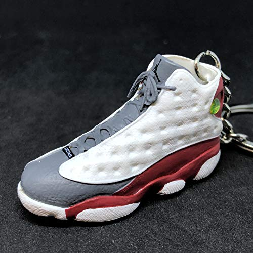 Air Jordan XIII 13 Retro Cement Grey Toe White Red OG Sneakers Shoes 3D Keychain Figure (Air Jordan 13 White Red Flint Grey)