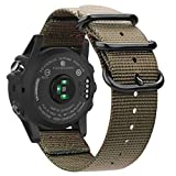 Fintie Band for Garmin Fenix 5X Plus/Fenix 3 HR Watch, 26mm Premium Woven Nylon Bands Adjustable Replacement Strap for Fenix 5X/5X Plus/3/3 HR Smartwatch - Desert Tan