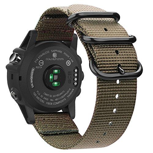 Fintie Band for Garmin Fenix 5X Plus/Tactix Charlie Watch, 26mm Premium Woven Nylon Bands Adjustable Replacement Strap for Fenix 5X/5X Plus/3/3 HR/Garmin Tactix Charlie Smartwatch - Desert - Charlie Band
