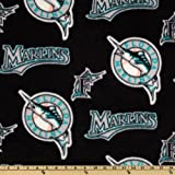 MLB Fleece Florida Marlins Allover Black/Teal Fabric By The Yard