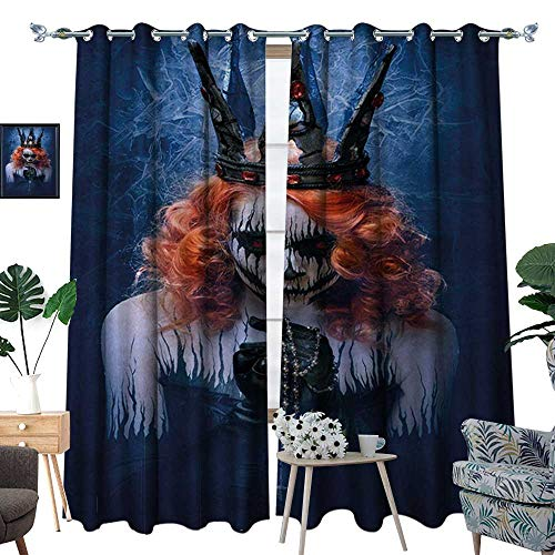 RenteriaDecor Queen Window Curtain Drape Queen of Death Scary Body Art Halloween Evil Face Bizarre Make Up Zombie Decorative Curtains for Living Room W96 x L84 Navy Blue Orange Black