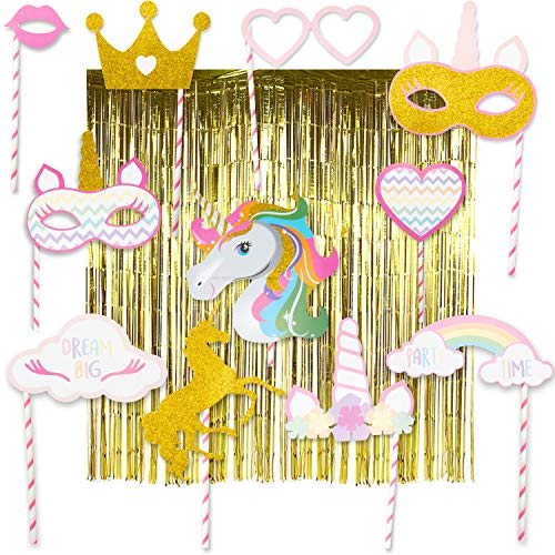 COMPLETE Unicorn Photo Booth Props | HUGE 6.4 ft x 9.8 ft Unicorn Photo Backdrop (Wrinkle-Free, Dazzling Gold) PLUS 12-piece Unicorn Photo Booth Party Props | PREMIUM Magical Rainbow Unicorn Party Theme Photobooth DIY Props Sparkle Gold Glitter & Two Gold Metallic Tinsel Foil Fringe Curtains Stunning Studio Photography Background (14-pieces total) | Perfect Unicorn Birthday Party Supplies Favors Decorations for Birthday Girl Baby Bridal Shower Bachelorette Party! - By Sweet Lady K 2019 New -