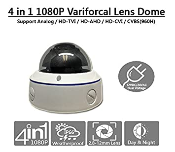 101AV 1080P Dual power DC12V AC24V 4in1 TVI, AHD, CVI, SD Analog 2.8-12mm Lens wide Angle IR Dome Security Camera In Outdoor Smart IR Range 100ft Office Home