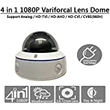 101AV 1080P Dual power DC12V AC24V 4in1 (TVI, AHD, CVI, SD Analog) 2.8-12mm Lens wide Angle IR Dome Security Camera In/Outdoor Smart IR Range 100ft Office Home