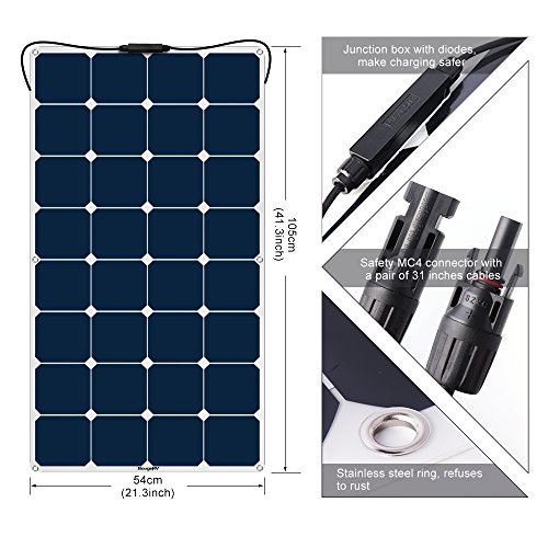 BougeRV 100W Solar Panel Charger, 18V 12V Thick PET SunPower Cell Solar Power Flexible with MC4 Connector for RV Travel Trailer Van Truck Car SUV Pontoon Boat Cabin Tent