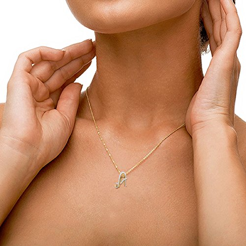 14K Or blanc 0.09CT TW Round-cut-diamond (IJ   SI) Pendentif