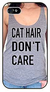 iPhone 4S Sexy girl, cat hair don't care - black plastic case / dog, animals, dogs