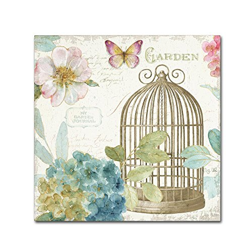 Art Wall Cage (Rainbow Seeds Floral Birdcage III v2 by Lisa Audit, 24x24-Inch Canvas Wall Art)