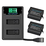 SmilePowo 1480Mah Replacement Battery(2 Pack) and LCD Display USB Charger for GoPro Hero 7 Black, Hero 6 Black,Hero 5 Black,Hero 2018,AHDBT-501,Gopro Accessories(Fully Compatible with Original)