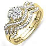 0.40 Carat (ctw) 14k Yellow Gold Round Diamond Ladies Bridal Ring Engagement Matching Band Set (Size 8)