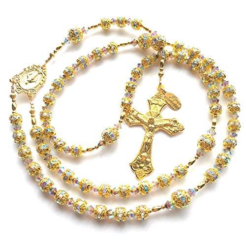 Rana Jabero Sparkling Iridescent Rhinestone & Gold Catholic Rosary w/Swarovski Crystals
