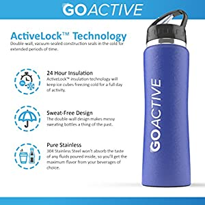 Stainless Steel Insulated Water Bottle with flip straw. H2O Sports drinking bottle is BPA Free, Eco Friendly, Good for Kids, and keeps ice over 24 hour (Blue- Powder Coated, 24 oz)