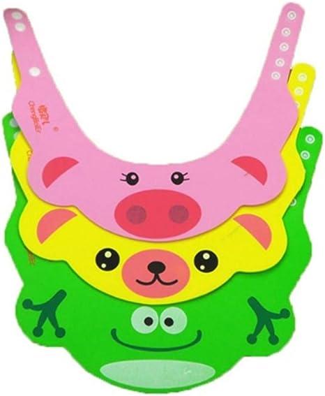 Gorro Ducha para Beb/é Sombrero Ajustable del Ba/ño Champ/ú Casquillo Infantil Suave Creativo Animado para Ni/ños para Lavarse el Pelo Verde
