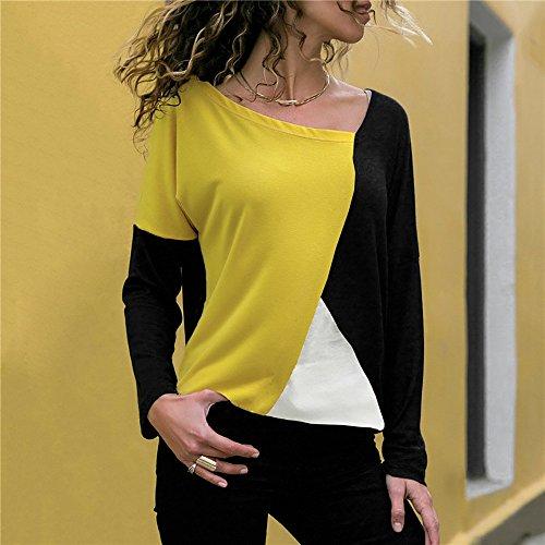 Walaka Haut Dcontracte Manche Neck O Mode Shirt Jaune T Longue Patchwork Chemisier Bloc Femmes Couleur 1r1pq