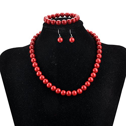 lureme Fashion Style Pearl Elastic Necklace Bracelet Dangle Earring Set-Red(09000649-7) by LUREME (Image #2)