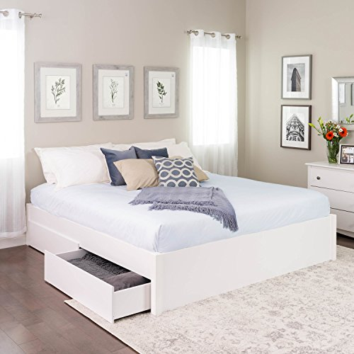 King Select 4-Post Platform Bed with 4 Drawers, White (Bed Frame 4 Post King)
