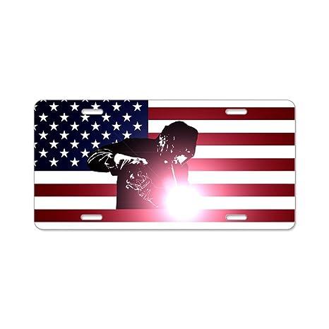 CafePress – soldadura soldador: y la bandera americana aluminio licencia p – Placa de Licencia