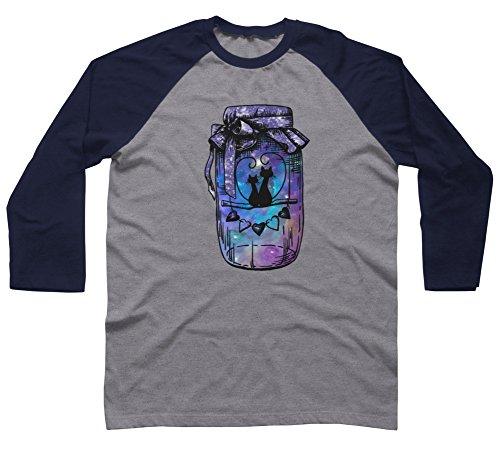 Space Love Jar Men's 2X-Large Charcoal Heather/Navy Raglan Sleeve Baseball Tee