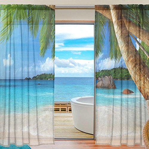 (SEULIFE Window Sheer Curtain Ocean Sea Beach Palm Tree Voile Curtain Drapes for Door Kitchen Living Room Bedroom 55x84 inches 2 Panels)