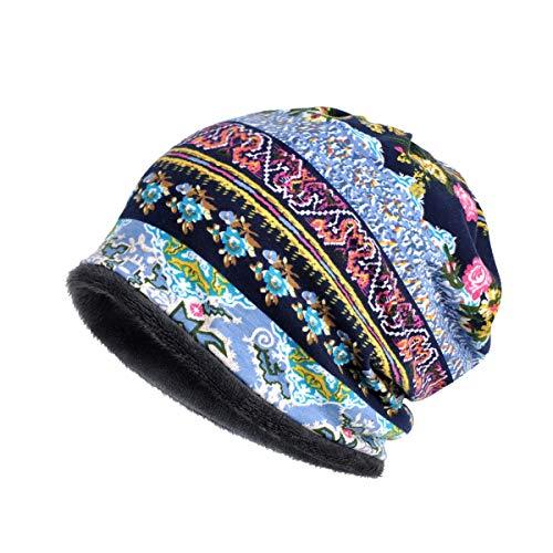 (Womens Soft Cotton Boho Ethnic Flower Print Stripe Slouch Beanie Infinity Scarf (Fleece Blue))