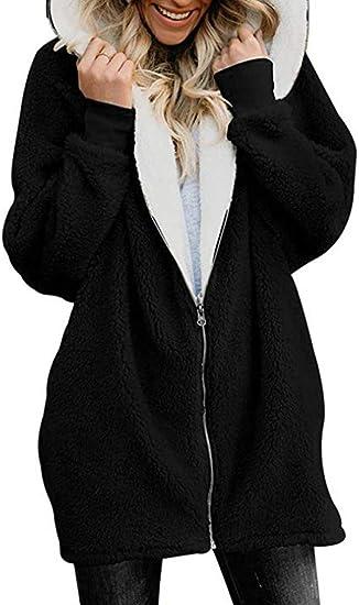 Leslady Manteau Femme en Peluche Sweats à