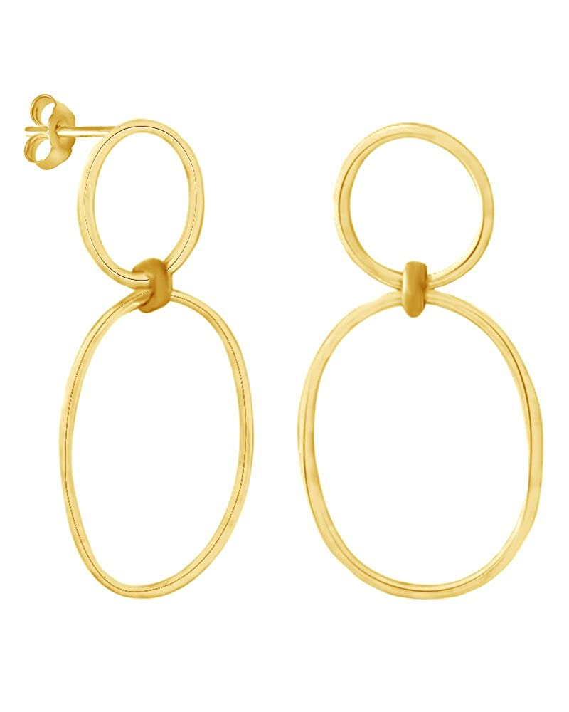 Two Circle Large Stud Earring In 14K Gold Over Sterling Silver