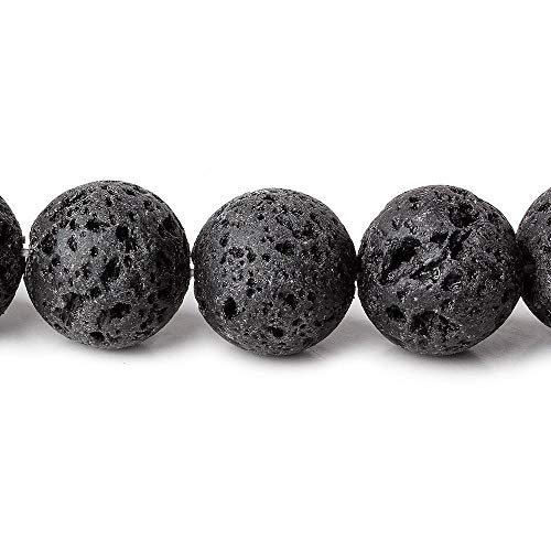 Black Lava Rock Beads Round 12mm dia, 16