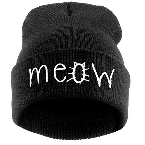 Slouchy Black Beanie Winter Knit Skull Hat for Women Men with Meow