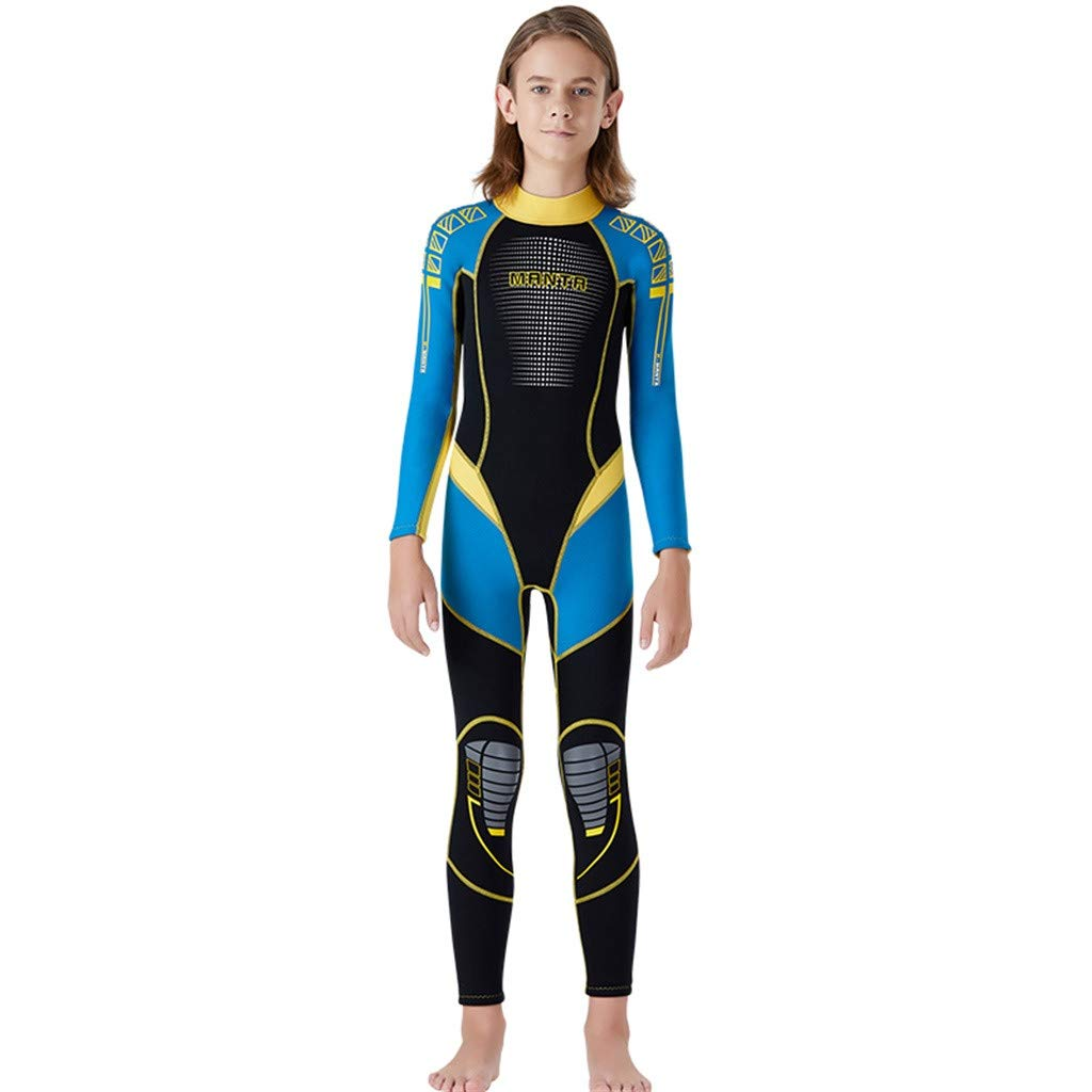 Kids Scuba One-Piece Diving Suit Neoprene Snorkeling Wetsuit Surfing Swimwear Blue