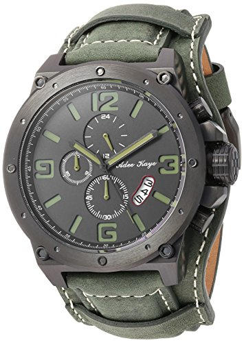 Adee Kaye Men's Quartz Stainless Steel and Leather Dress Watch, Color:Green (Model: AK8896-MGN)