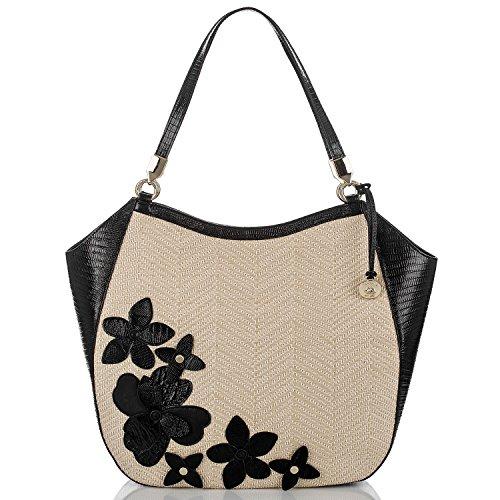 (Brahmin Womens Thelma Leather Contrast Trim Tote Handbag Tan Large)