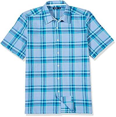 Isle Bay Linens Men's Short Sleeve Plaid Slim Woven Shirt
