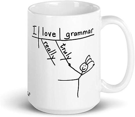 Amazon Com Grammar Table Sentence Diagram Mug I Love Grammar Reading Writing Language Kitchen Dining