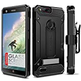 ZTE Blade Z Max Case, Evocel [Explorer Series Pro] Premium Dual Layer Credit Card Case with Glass Screen Protector & Magnetic Kickstand for ZTE Sequoia/ZTE Blade ZMax (Z982), Black