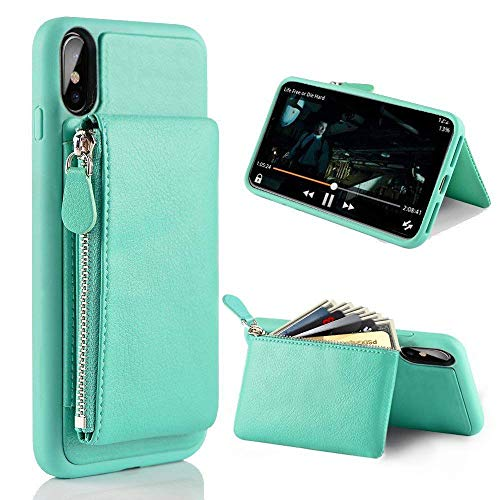 LAMEEKU Wallet Zipper Leather Case for Apple iPhone Xs Max, 6.5-Inch, Protective Credit Card Holder Slot Money Pocket Purse Cases, Bumper Cover Compatible with iPhone Xs Max 6.5