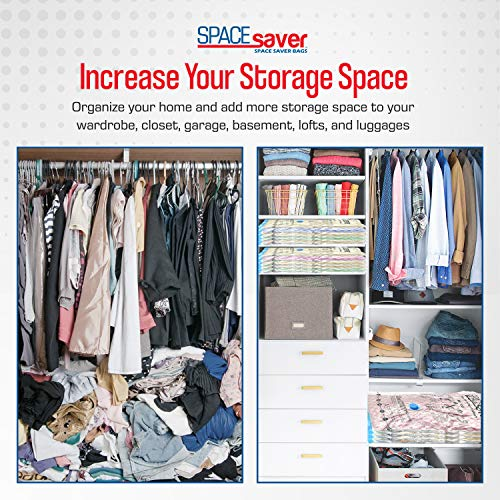 Spacesaver Premium Vacuum Storage Bags. 80% More Storage! Hand-Pump for Travel! Double-Zip Seal and Triple Seal Turbo-Valve for Max Space Saving! (Variety 4 Pack)