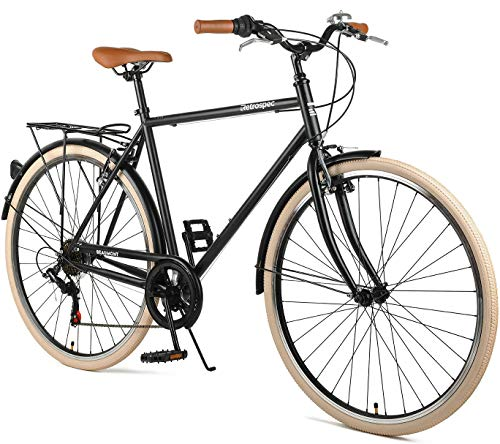 Retrospec Beaumont-7 Seven Speed Men's Urban City Bike, Matte Black, 50cm/Small (Best Bicycles For City Riding)
