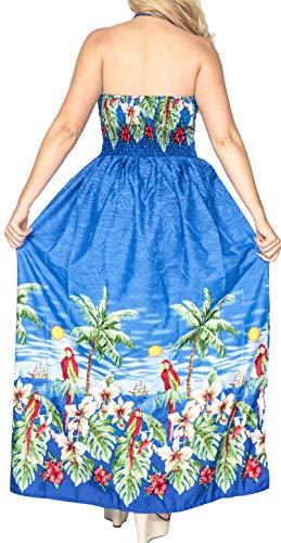 Tube Femmes Fente Robe Longue Licol Bleu Beachwear g85 Douce Maxi LA LEELA Likre Dissimuler Les fgBg7