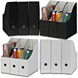 Simple Houseware White / Black Magazine File Holder Organizer Box (Pack of 12)