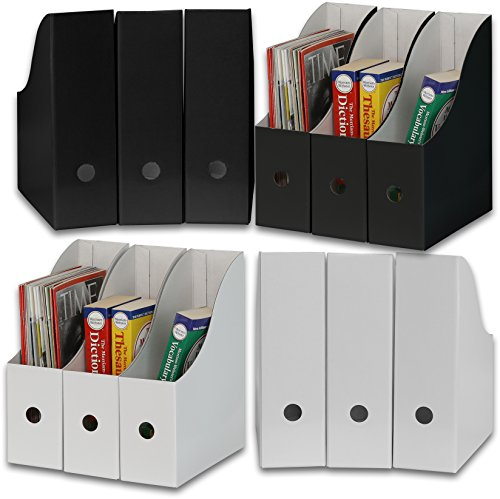 Simple Houseware White/Black Magazine File Holder Organizer Box (Pack of 12) ()